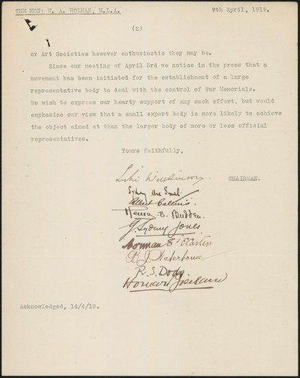 Fig 11: Letter from Australian Arts Club, 9/4/1919, p. 2. From NRS 12060, [9/4923A], A25/785