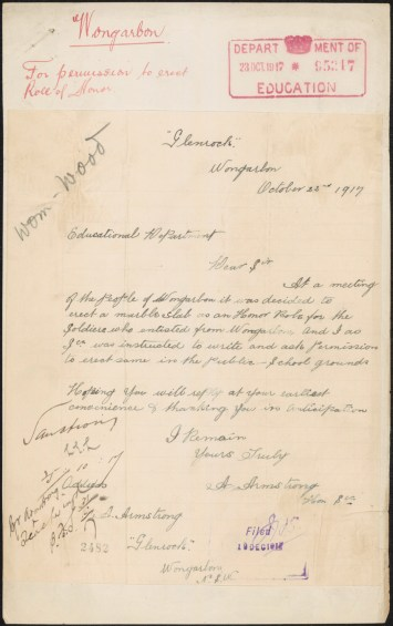 Fig 6: Letter from A Armstrong re: permission to erect memorial at Wongarbon Public School, 22/10/1917. From NRS 3829, [5/1876.2], 17/65217
