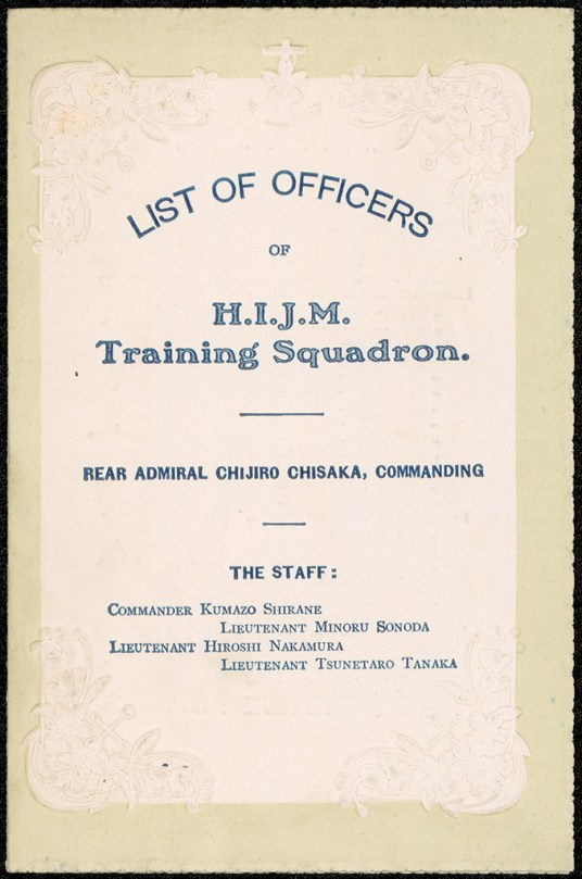List of officers of HIJM Training Squadron on visit to Sydney, 1915. From NRS 12172 [4/6251], cover.