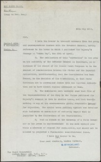 Fig 7: Governor Strickland's letter to the Governor General, 26/5/1916. From NRS 4541, [7/1668A]