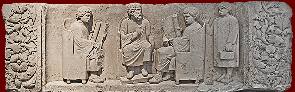 An ancient Roman school (circa 180-185 CE). Relief found near Trier, Germany. Image from vroma.org.
