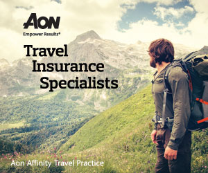 AON | Empower Results | Travel Insurance Specialists | AON Affinity Travel Practice | Ad | Hiker standing in valley looking toward mountain