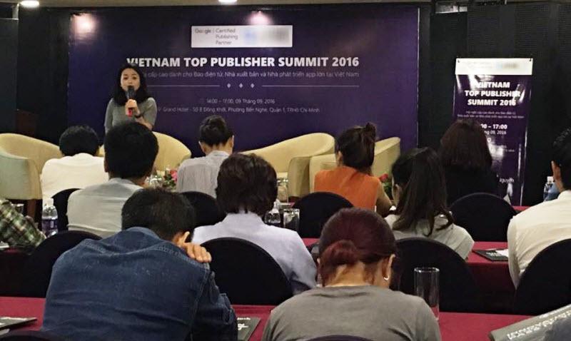 Bà Sophia Jiang - Giám đốc Kênh đối tác Khu vực Đông Nam Á, Úc và New Zealand của Google tại buổi họp mặt cá Top Publisher tại Việt Nam ngày 9/9/2016.