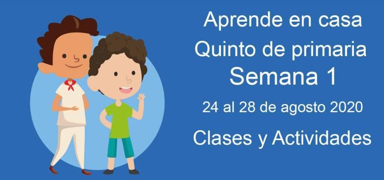 Quinto de primaria: Actividades y materiales de la semana 1 Aprende en Casa (24 al 28 de agosto)