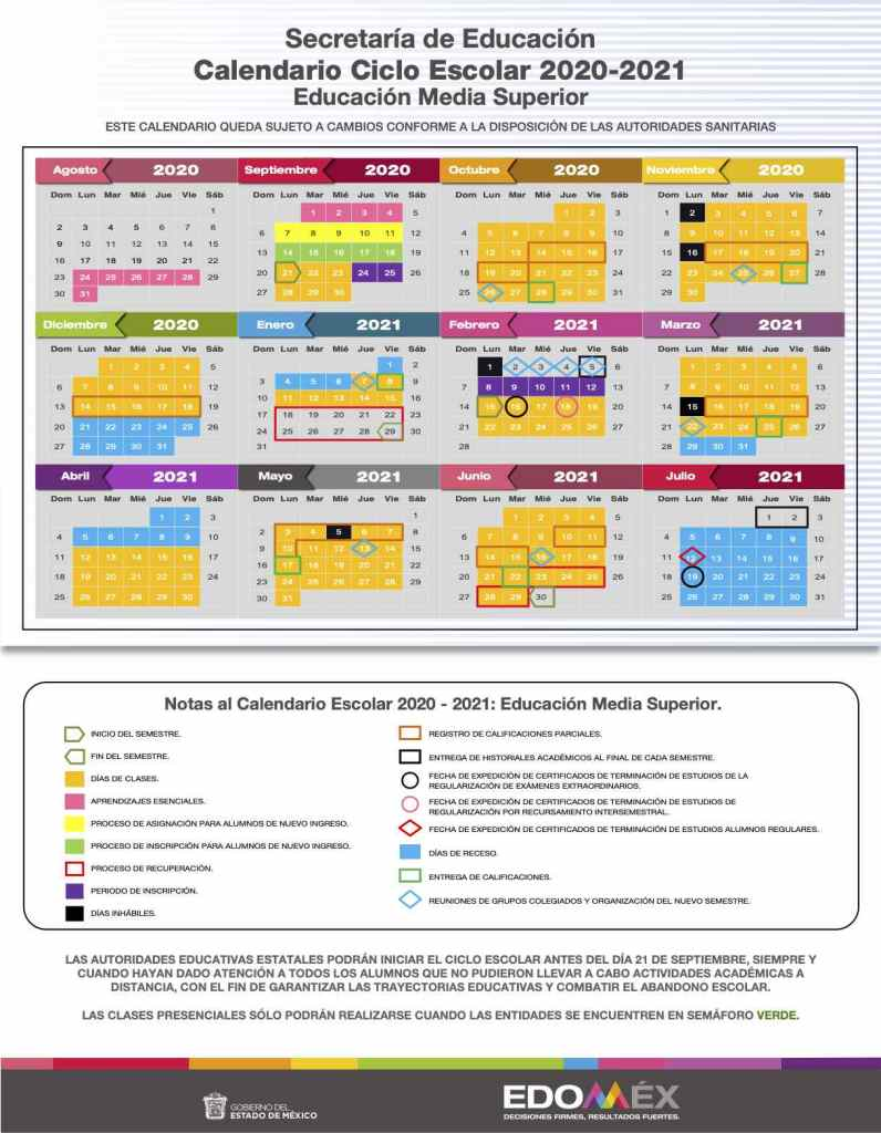 calendario escolar 2020 2021 educación media superior