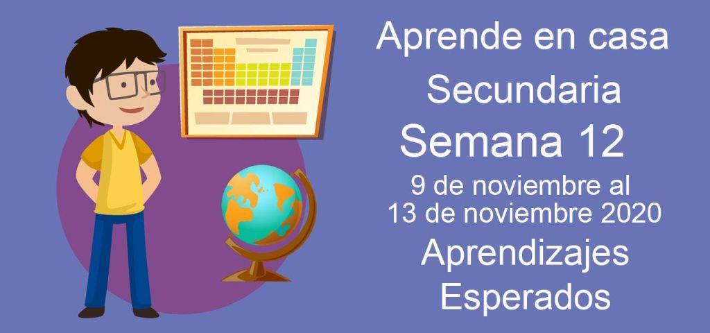 Secundaria: Aprendizajes esperados aprende en casa semana 12 del 9 al 13 de noviembre aprende en casa.