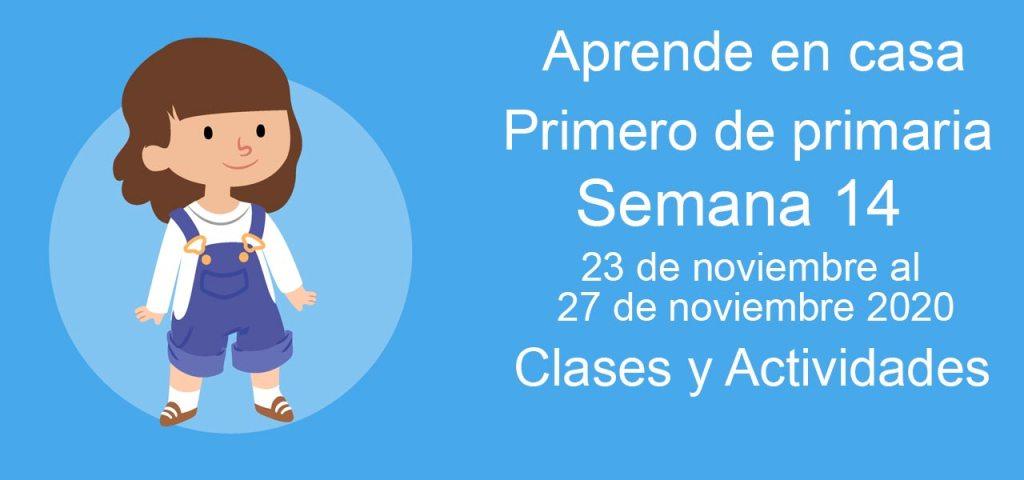 Aprende en casa Primero de primaria semana 14 del 23 al 27 de noviembre 2020 clases y actividades