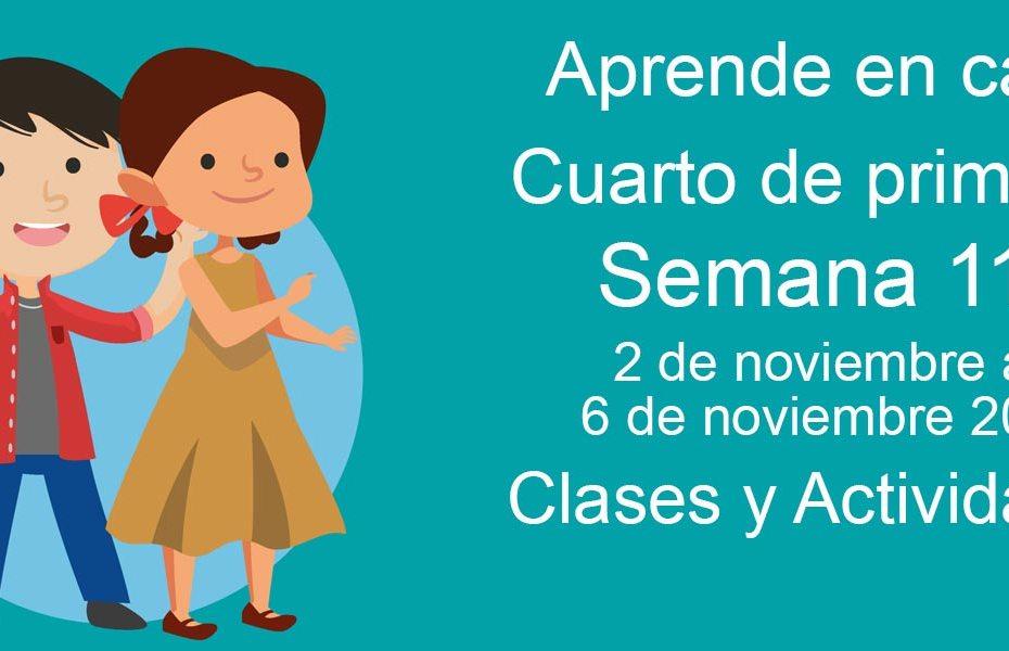 Aprende en casa Cuarto de Primaria semana 11 del 2 al 6 de noviembre 2020 clases y actividades