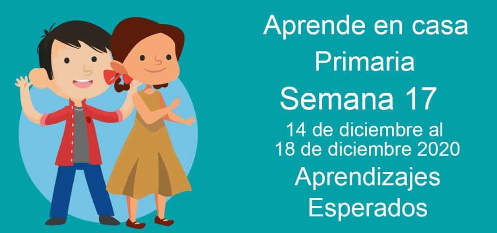Aprendizajes esperados Aprende en Casa Semana 17 del 14 al 18 de diciembre de aprende en casa Primaria