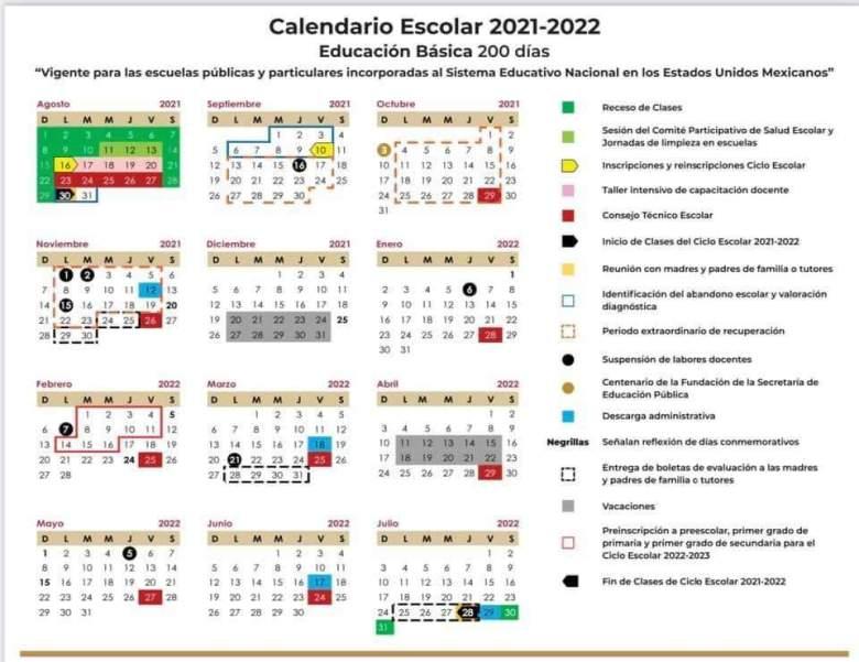 calendario escolar 2021 2022 educación básica 200 días