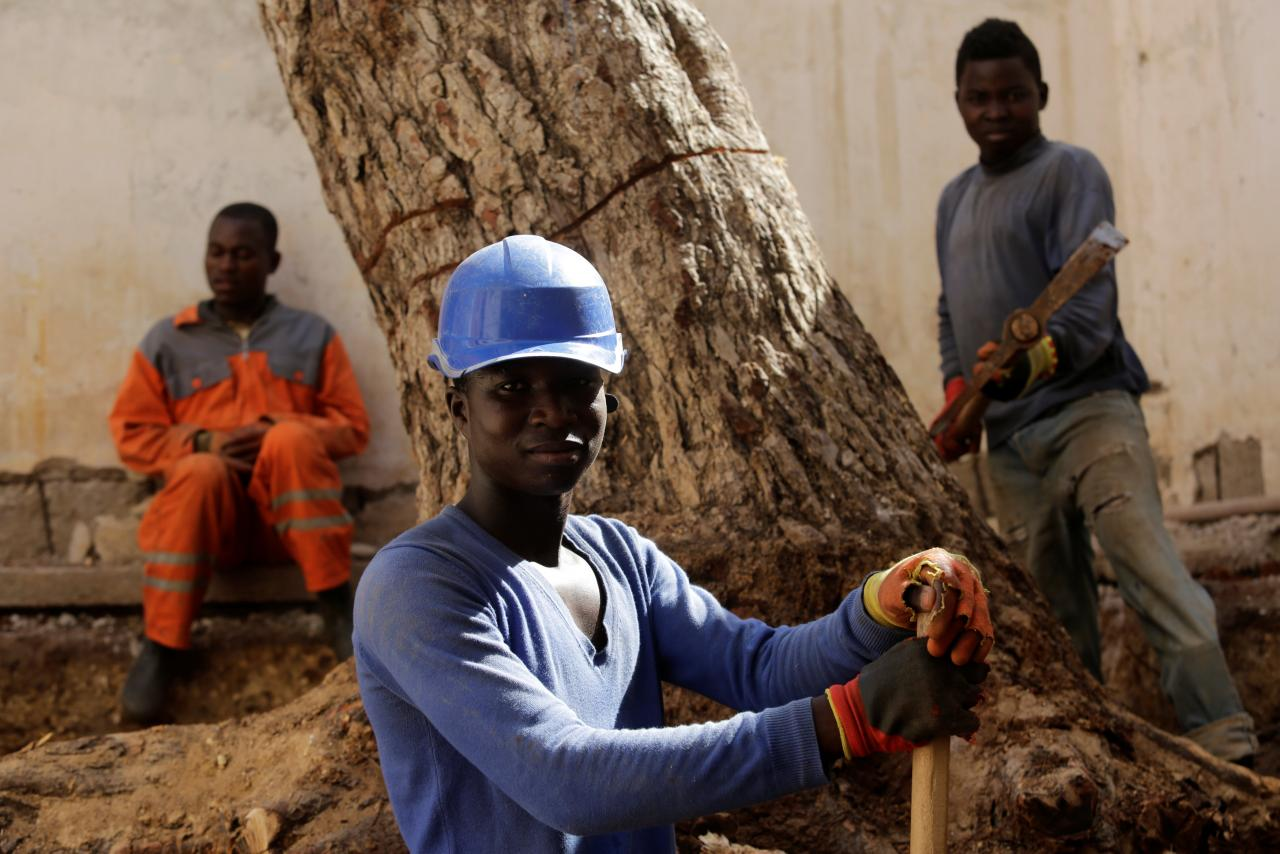 African migrants work at the construction site of a building in Algiers