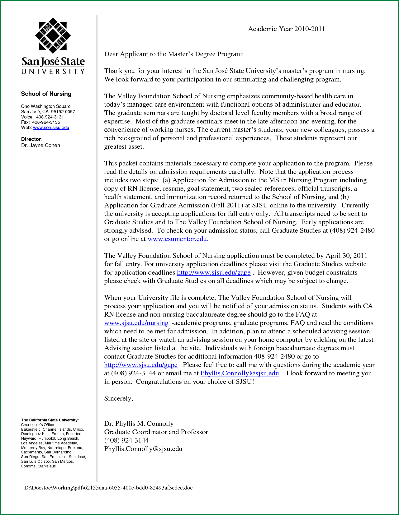 Nursing School Recommendation Letter Template Samples Letter Cover Templates