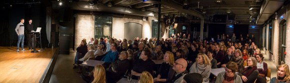 Forelesning med æresdoktorene Elmgreen og Dragset på Dokkhuset. Foto: Thor Nielsen