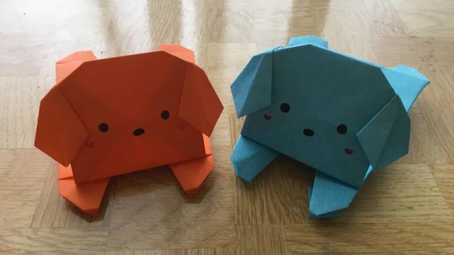 折り紙で子犬のふせっ!