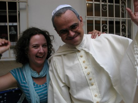 Running into a comedy show who had the Pope being interviewed in an apartment in Copacabana. He stopped for a chat
