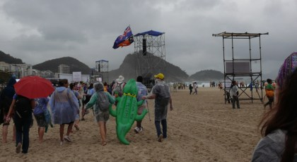 The group stepping out onto Copacabana Beach for the first time