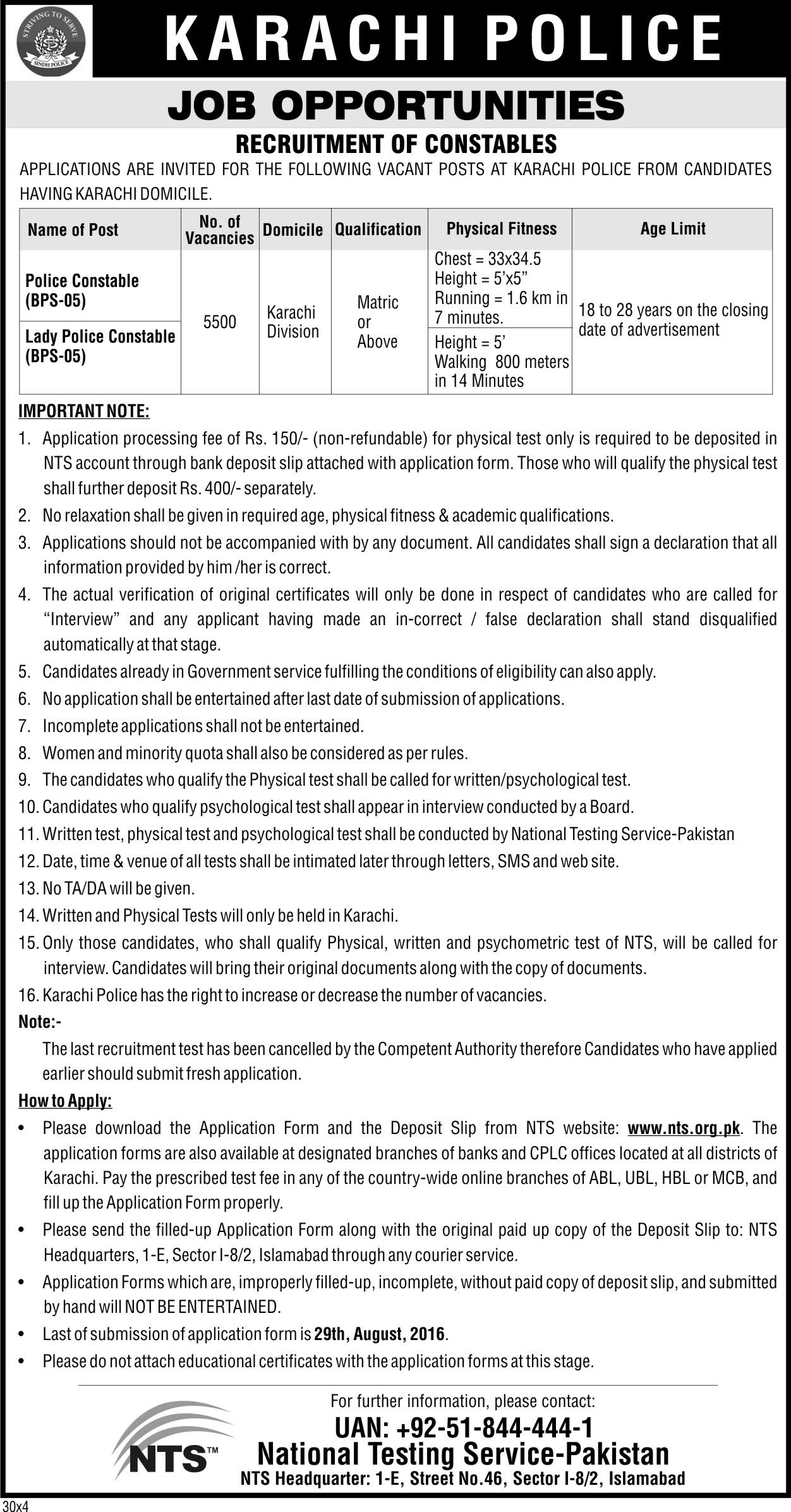 Karachi Police Special Security Unit SSU Jobs 2019 NTS Test Dates