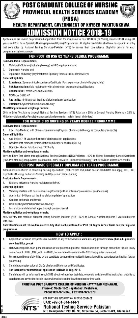 Post Graduate College of Nursing NTS Admission Forms 2018-2019
