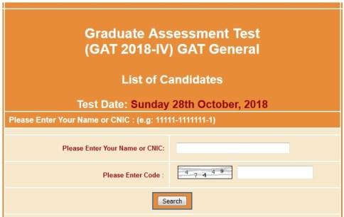 Graduate Assessment Test GAT General IV NTS Roll No Slips 2019