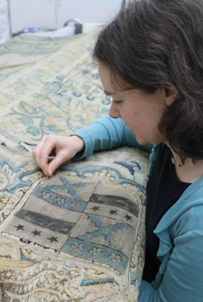 Gideon stitching on shield ©National Trust/Textile Conservation Studio