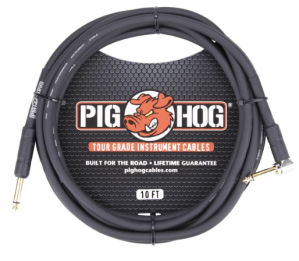 Pig Hog 10ft 1_4_ - 1_4_ Right Angle 8mm Inst Cable