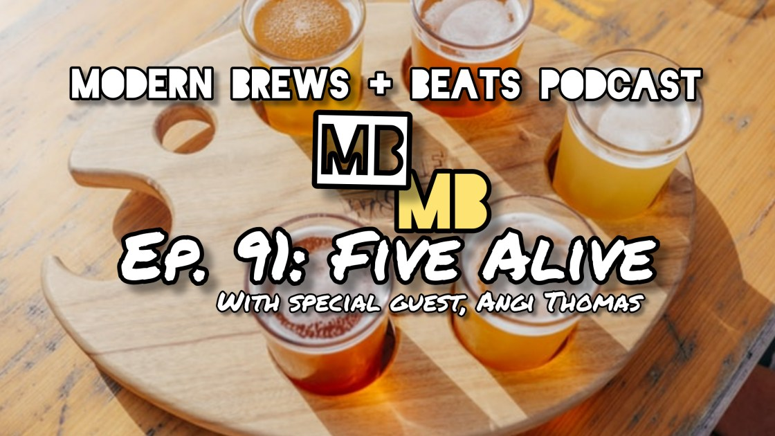 Picture from Unsplash.com of a tray with five beers that serves as the cover image of Modern Brews + Beats 91: Five Alive