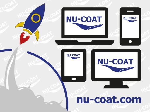 Nu-Coat website launched... a linework depiction of a rocket flying out of a cloud of takeoff smoke rocketing over depictions of various computer devices.