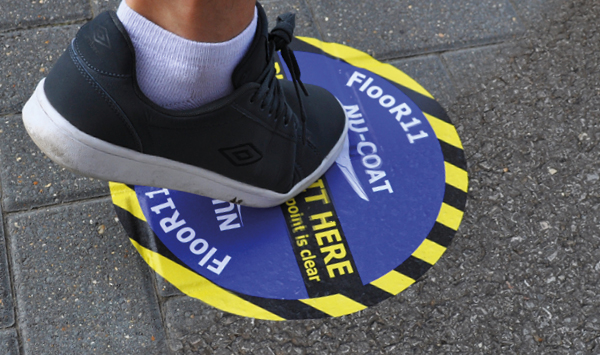 Slip rated floor graphic media solutions for internal and external prints.