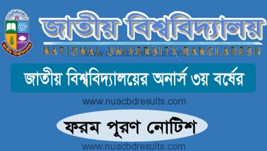 Honours 3rd Year Form Fill Up Notice