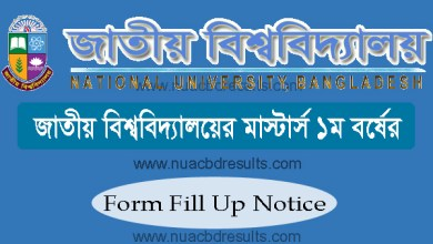 Masters 1st Year Form Fill Up Notice