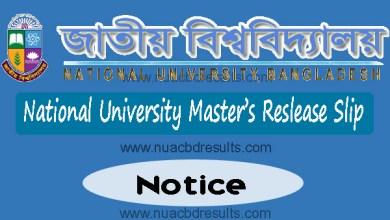 Masters Admission Release Slip Notice