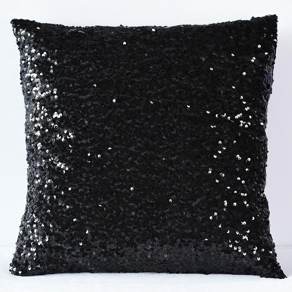black sequin taffeta pillow