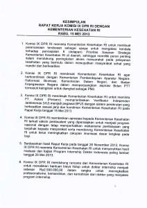 Kesimpulan Raker Menkes Dengan Komisi IX DPR RI 15 Mei 2013