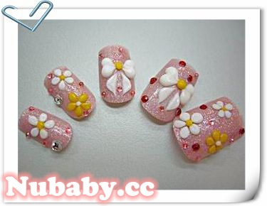 美甲作品-水晶粉雕 蝴蝶結和五花瓣