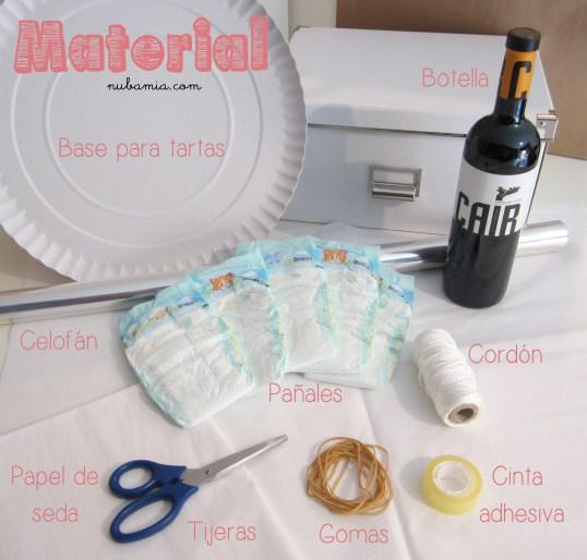 Tarta de pañales - material