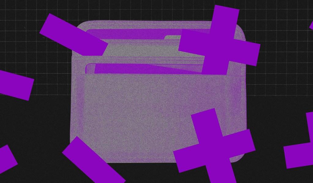 Imagem de uma carteira furta-cor em frente a um fundo preto, com sinais de menos e mais roxos espalhados pela tela