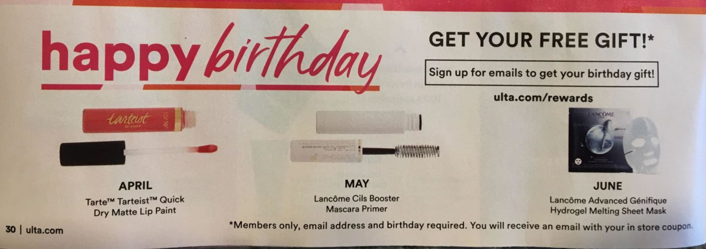 Ulta Birthday Gifts 2019