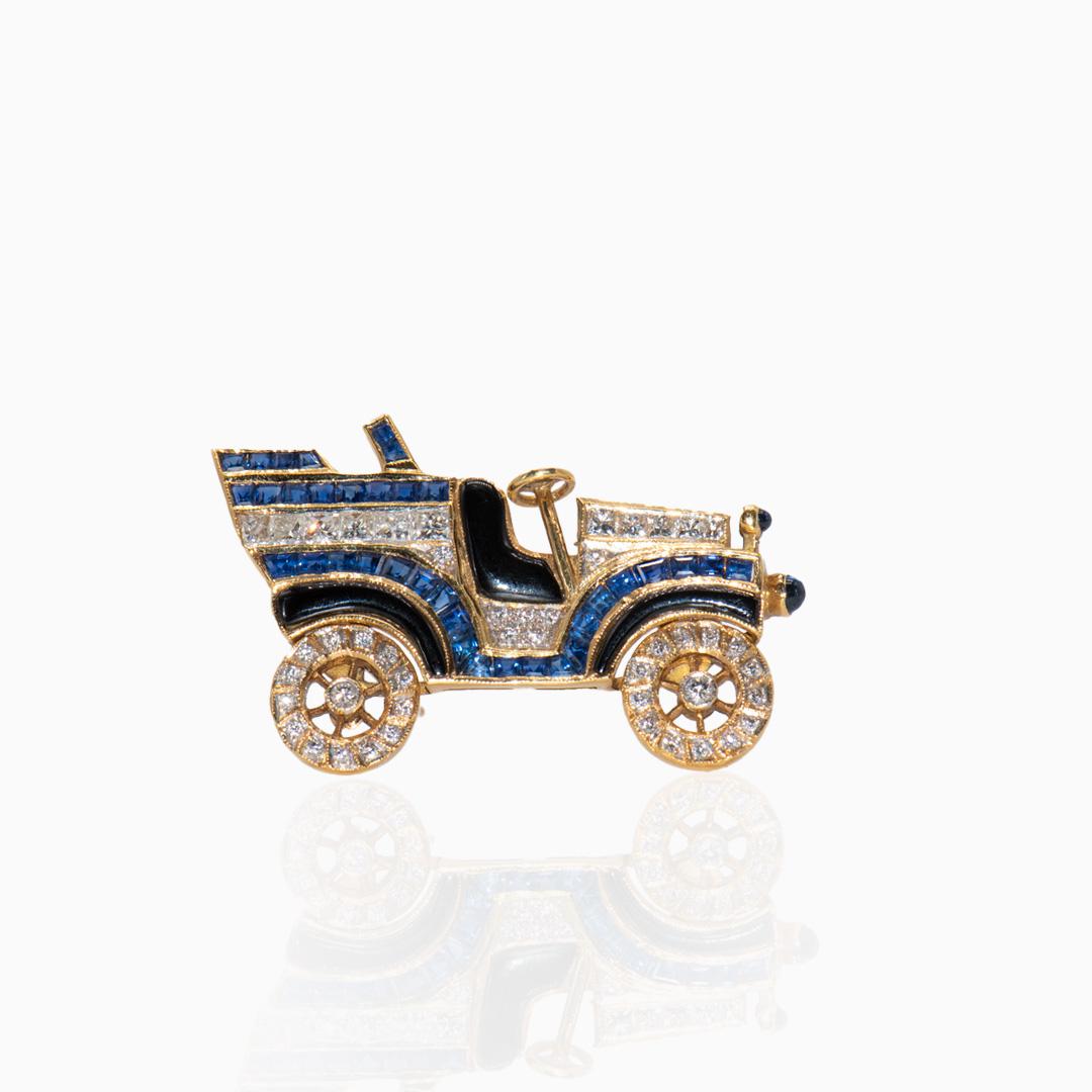 Broche de Oro Zafiro Diamantes y Esmalte en forma de coche