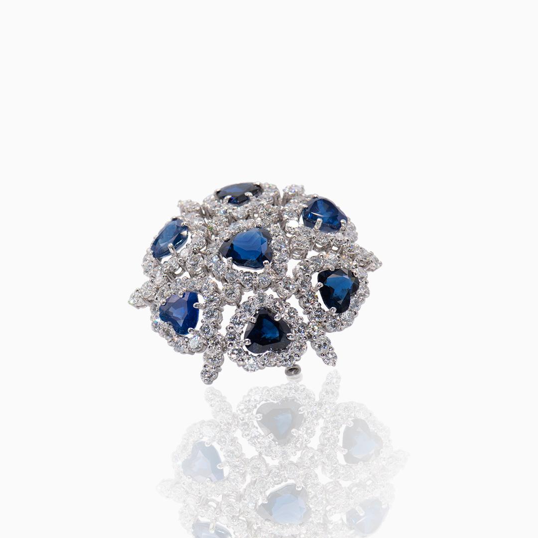 Broche de Platino Diamantes y Zafiros