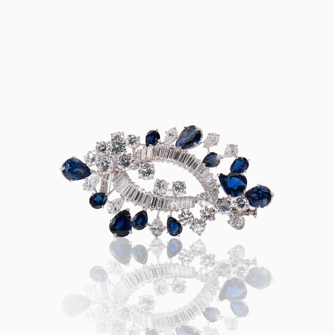 Broche de Platino Zafiros y Diamantes