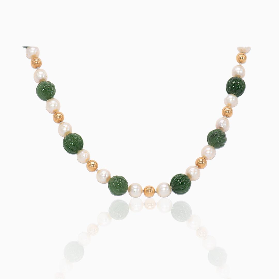 Collar de Oro Perlas y Jade