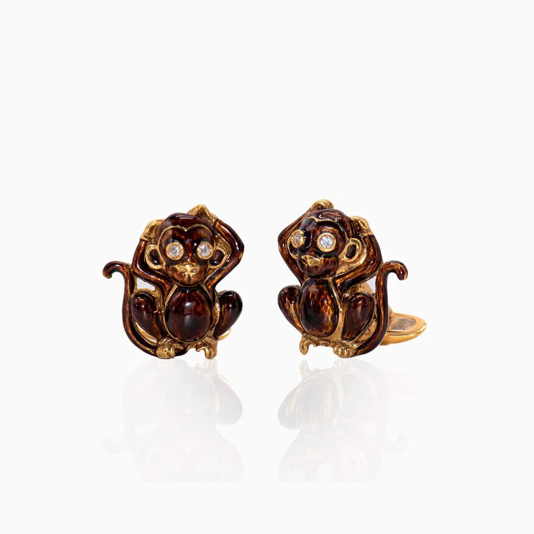 Gemelos de Oro Diamantes y Esmaltado con forma de Mono
