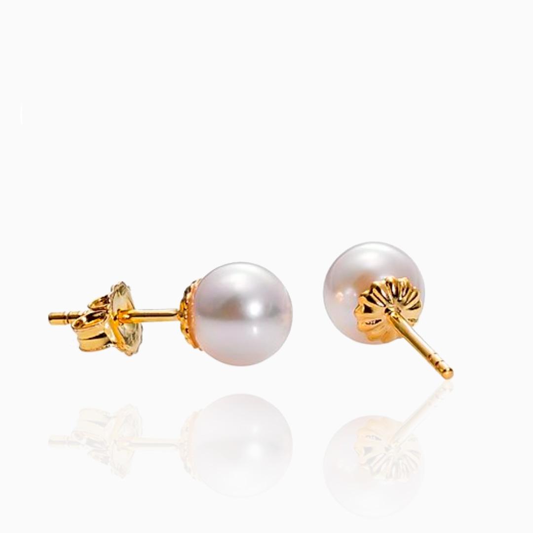 Pendientes Perlas Japonesas Akoya de Oro