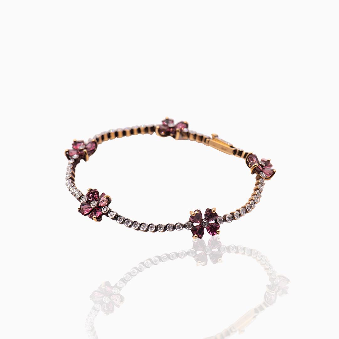 Pulsera Oro Rosa Turmalina y Diamantesmantes