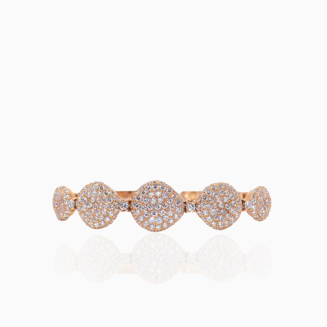 Pulsera Oro Rosa Diamantes Rígida