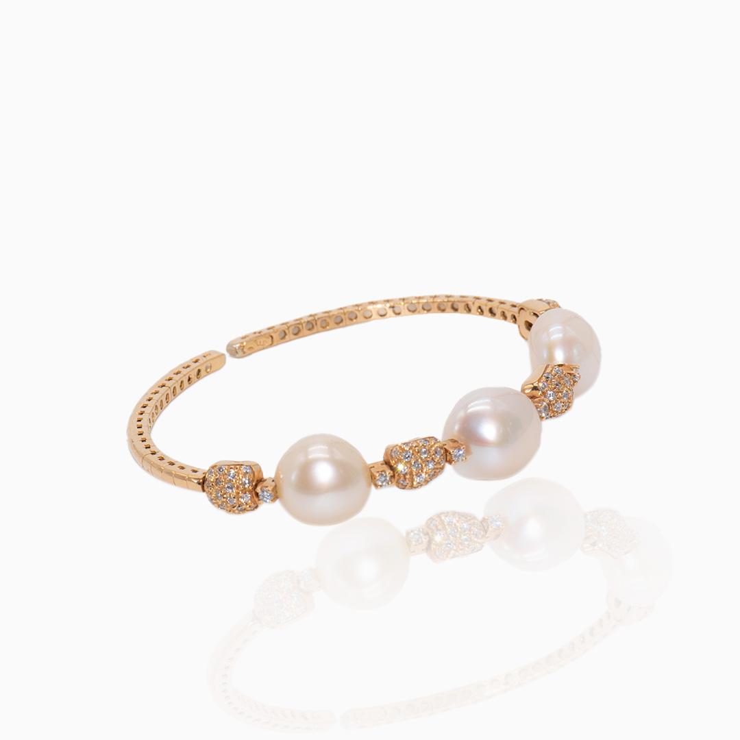 Pulsera Oro Perlas y Diamantes