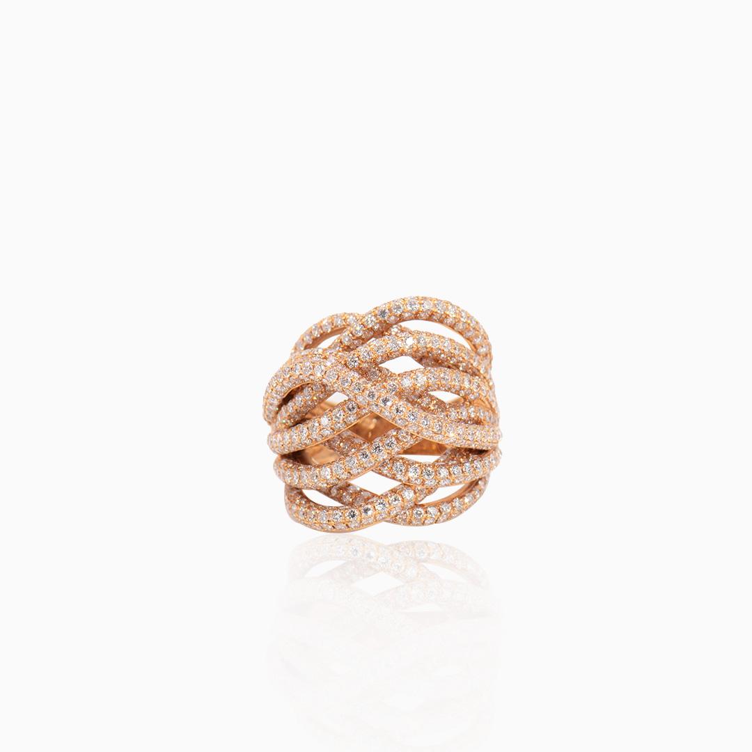 Anillo Oro Rosa y Diamantes entrelazada