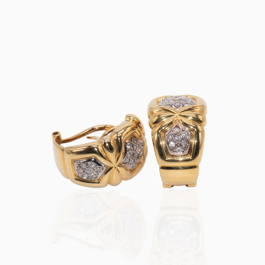 Pendientes de Oro y Oro Blanco con Diamantes Gallonados