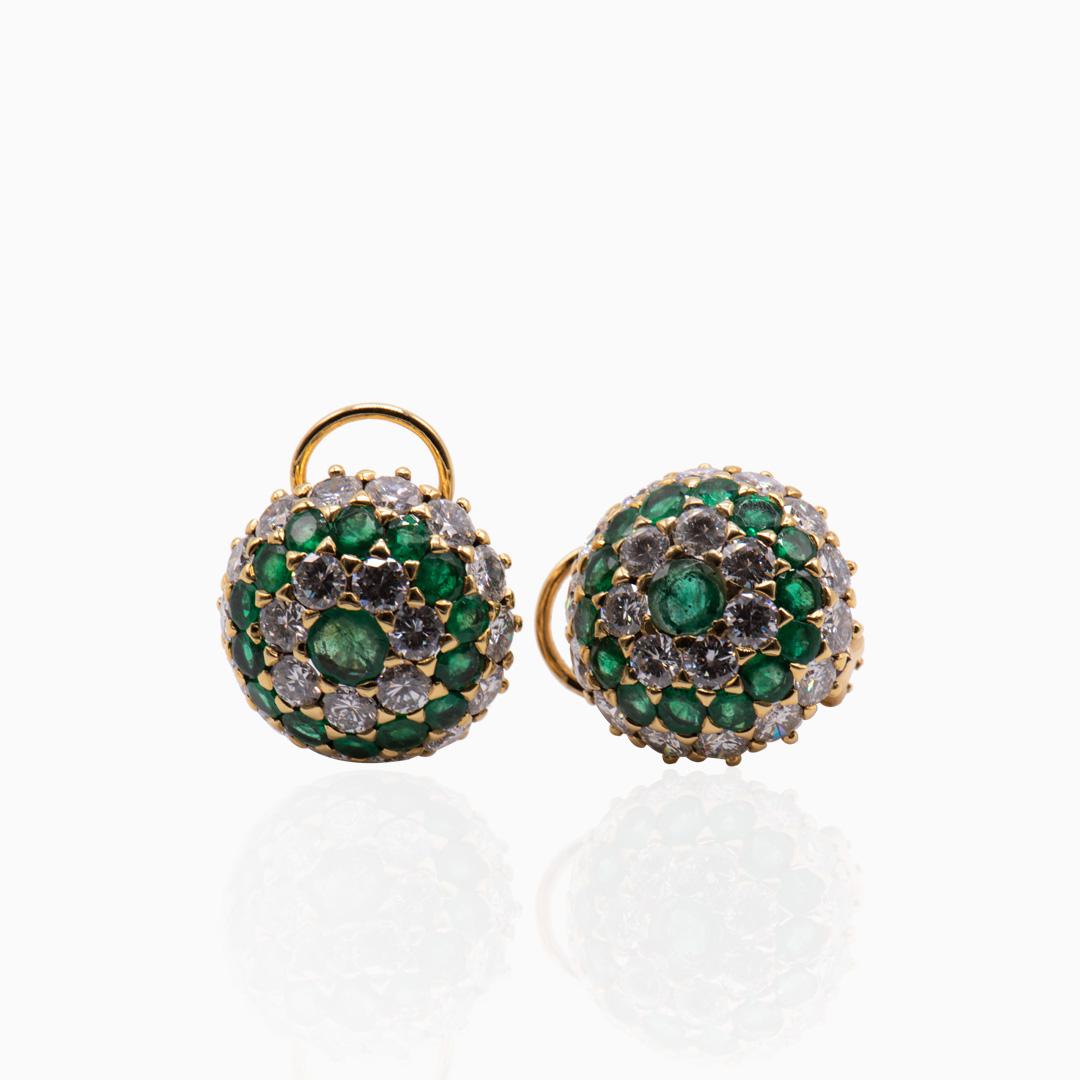 Pendientes de Oro Esmeraldas y Diamantes