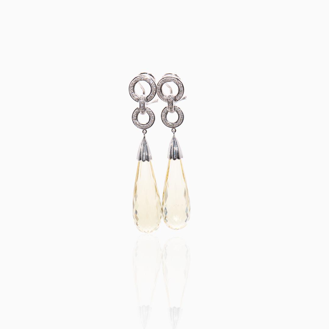 Pendientes Oro Blanco Cuarzo Limón y Diamantes